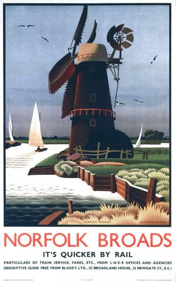 Vintage LNER Norfolk Broads Windmill Railway Poster A3//A2//A1 Print