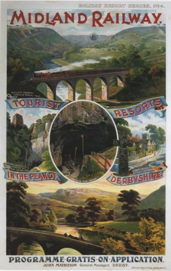 Vintage LMS Buxton Derbyshire Railway Poster A3//A2//A1 Print