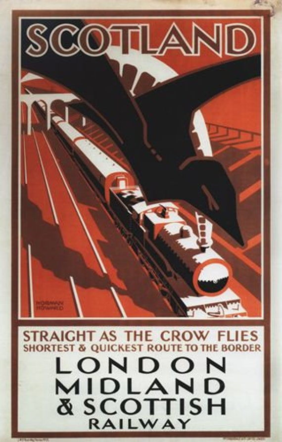 Vintage LMS Quickest Route to Scotland Railway Poster A4//A3//A2//A1 Print