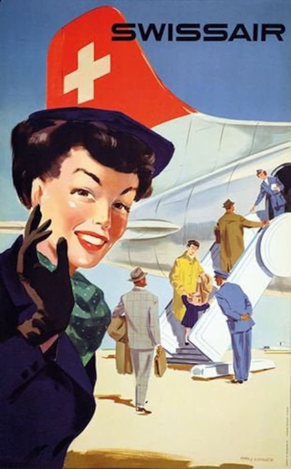 Vintage Qantas  Flights to New Zealand Airline Poster A3//A4 Print