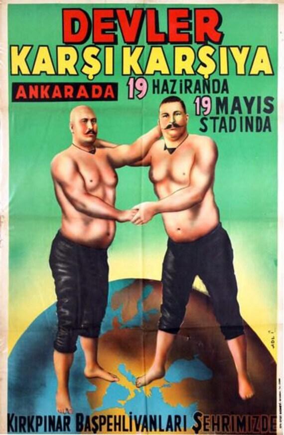 Vintage  Turkish Wrestling  Poster A3 Print