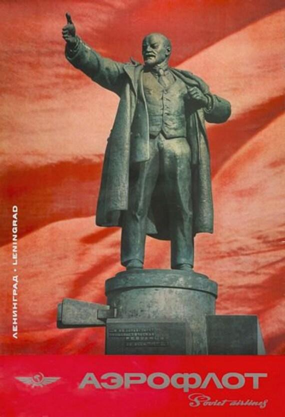 Vintage Soviet Union Lenin A3 poster print