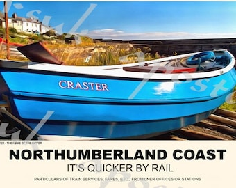 Vintage Style Railway Poster Craster Northumberland Coast A3/A2 Print