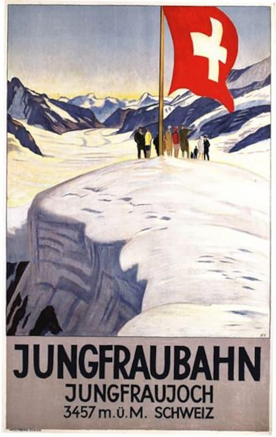 Vintage Jungfrau Swiss Alps Tourism Poster A3//A2//A1 Print