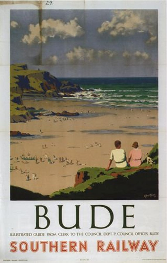 Wall art. Bude Vintage Railway Advertising Reproduction poster