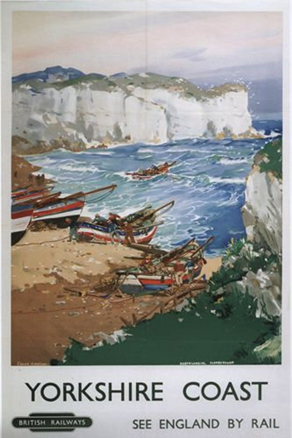 Vintage British Rail Yorkshire Flamborough Head Railway Poster A3//A4 Print