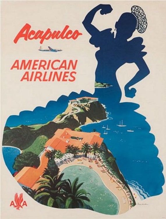 Vintage American Airlines Flights To Acapulco Poster A3 Print
