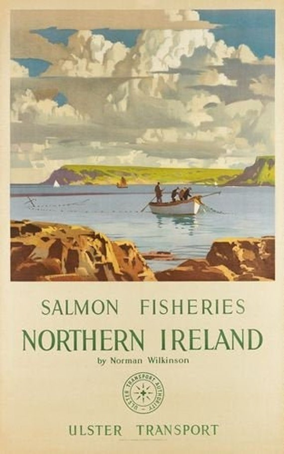 Vintage Northern Ireland Salmon Fishing Tourism Poster Print A3//A4