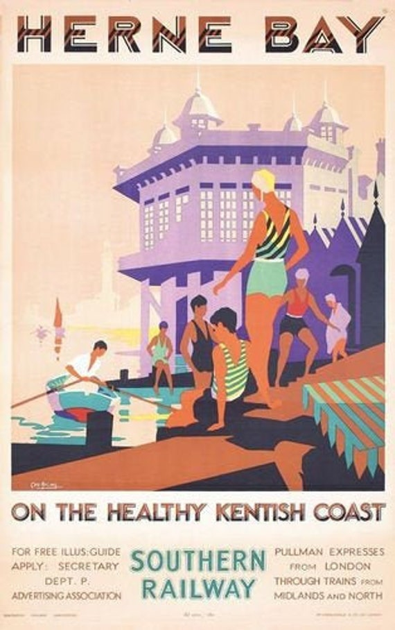 A4 Vintage travel railway poster Folkestone Southern Railway