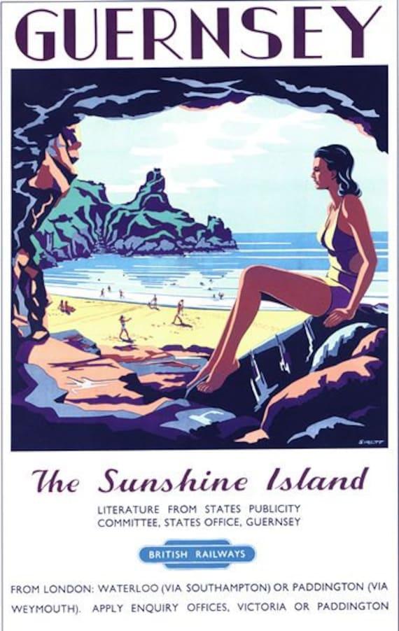 A3 A4 Size Guernsey Vintage advertising Advert Vintage Art Poster