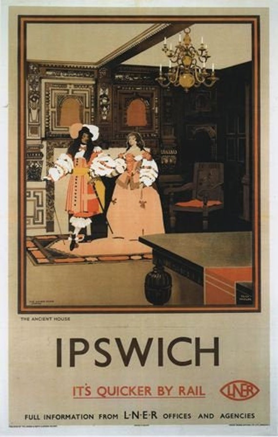Vintage LNER Ipswich Ancient House Railway Poster A4//A3//A2//A1 Print