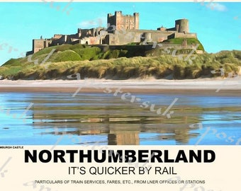 Vintage Style Railway Poster Bamburgh Castle Northumberland   A3/A2 Print