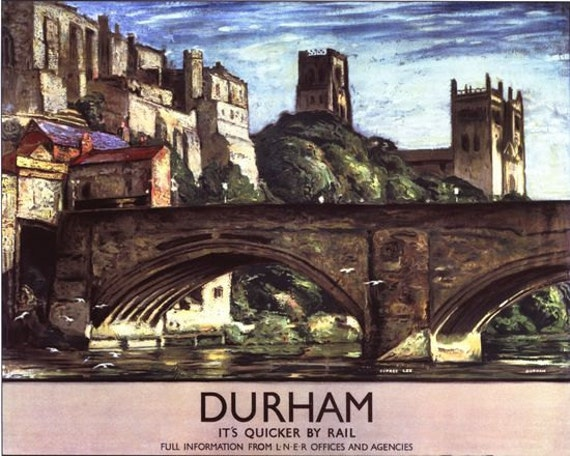 Vintage Durham on the LNER Railway Poster A3 Print