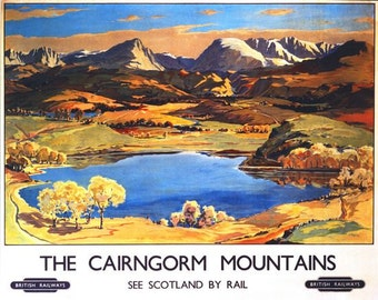 Vintage British Rail Cairngorm mountains Scotland Railway Poster A3/A2/A1 Print