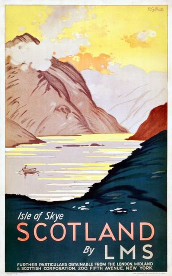 Vintage LMS LNER Isle of Skye Railway Poster A4//A3//A2//A1 Print