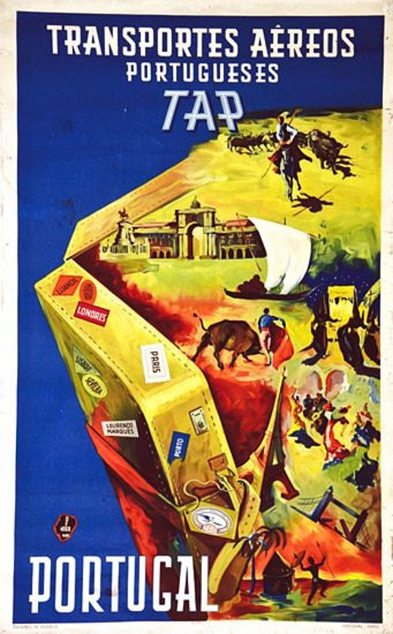 Vintage TAP Portugal Airline Poster A3 Print