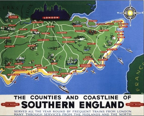 Vintage British Rail Southern England Railway Poster A3//A2//A1 Print
