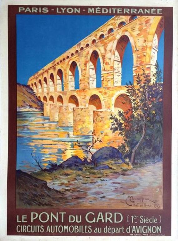 Le Pont du Gard France French Paris Vintage Travel Advertisement Art Poster