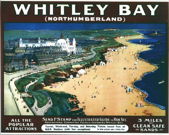 1958 British Railways Whitley Bay  Poster A3//A2//A1 Print