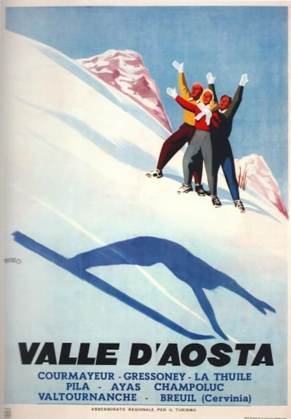 Vintage Val D/'Aosta Italy Ski Jumping Poster A3//A2//A1 Print