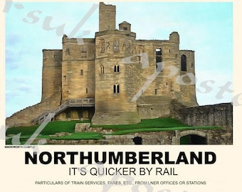 Vintage Style Railway Poster Warkworth Castle Northumberland A3/A2 Print