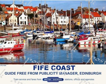 Vintage Style Railway Poster Anstruther Fife Coast A3/A2 Print