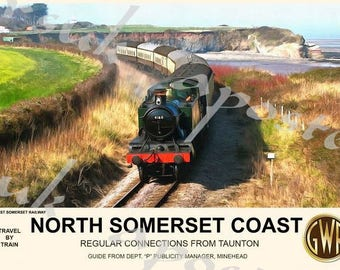 Vintage Style Railway Poster North Somerset Coast A3/A2 Print