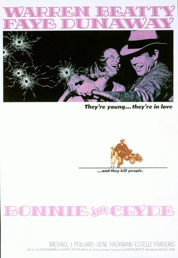 Vintage Bonnie and Clyde Movie Poster A3//A2//A1 Print