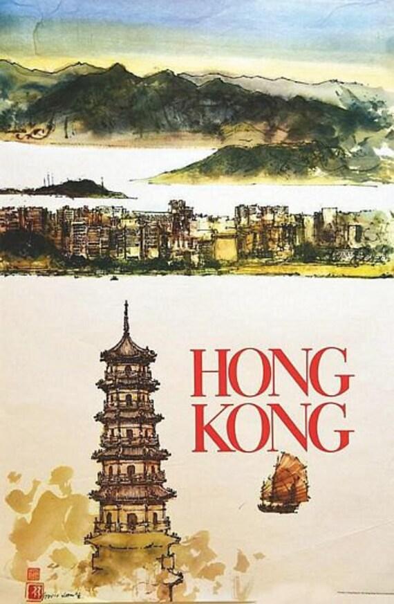 A2 Print Vintage Air India Hong Kong Travel Poster A3