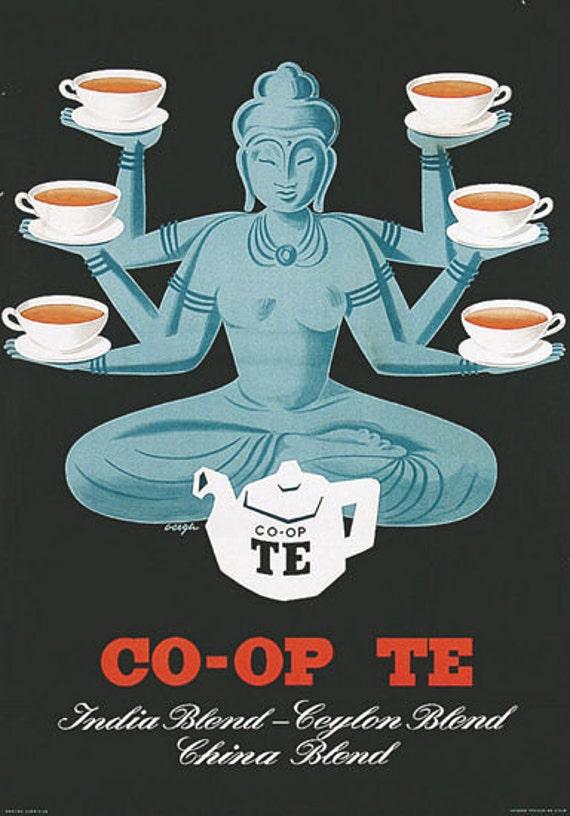 Vintage Co op Tea Advertisement Poster A3 Print