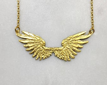 Tiny Double Angel Wings Gold Necklace