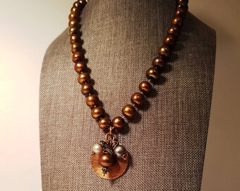 Lovely Egyptian Pearls Necklace, Hammered Copper coin pendant Short Necklace, Knotted silk cord Pearl Necklace