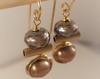 Gold filled, Authentic, Cultivated Faceted Gray and Gold-Rose Pearls Earrings