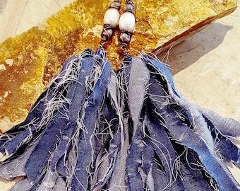 Original, Boho Chic, Long Earrings, Handmade Bluejeans Tassel Earrings, Bohemian White Exotic Pearls, Labradorite Earrings