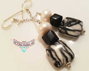 So Chic, Pinolith, Black Obsidian stones and Pearl  Earrings