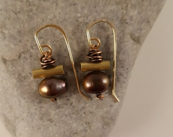 Exotic, Gold Brass Tubing Earrings, Lustrous Cultured Brown Pearls, Wrapped Oxidized Copper Wire, One Pair