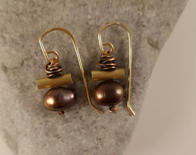 Featured listing image: Exotic, Gold Brass Tubing Earrings, Lustrous Cultured Brown Pearls, Wrapped Oxidized Copper Wire, One Pair