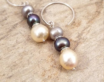 Take me to the Sea / Stack of Genuine and Magnificent Pearls Trio/ Sterling Silver Dangle Luminous Pearls Earrings.
