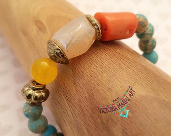 Africa Turquoise Jasper Gemstone Bracelet, Peach Coral Bamboo, Beautiful Yellow Calcite Beach Bracelet, Gift for Her Bracelet
