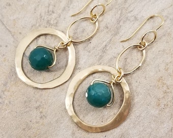 Unique Desing/ Hammered Gold Brass Hoop Earrings/ Gogerous Faceted Green Agate Earrings/ Chic Long Hoop Earrings/ Victoriamarial