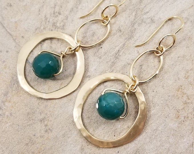 Featured listing image: Unique Desing/ Hammered Gold Brass Hoop Earrings/ Gogerous Faceted Green Agate Earrings/ Chic Long Hoop Earrings/ Victoriamarial