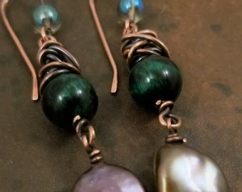 Green Cat's Eye Gemstone Earrings /Copper Gold Coin Freshwater Pearls Earring / Copper Patina Dangle Earrings /Oxidized Copper Earrings.