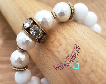 Astonishing, White, Smooth Marble Gemstone Bracelet, Exquisite, Faceted, White Crystals Pearl, Beaded Bracelet,Stretch Cord Bracelet,