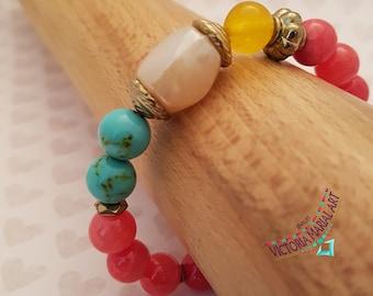 Gogeous Peach Coral Jasper Bracelet, Turquoise Magnesite, Yellow Calcite Gemstone Bracelet, Beaded Bracelet, Beach, Gift for Her Bracelet