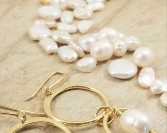 Elegant, Gold Brass Double Hoop Earrings with a  Lustrous, Genuine, Teardrop White Pearls Earrings