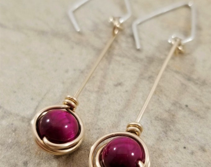 Featured listing image: Gold Filled Natural Red Rose Cat's Eye Gemstones Earrings / Silky Lustre Red Rose Cat's Eye Dangle Earrings / Charming Short Dangle Earrings