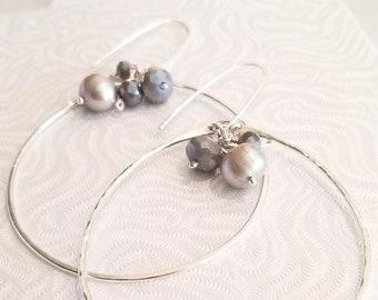 Sterling Silver Hoops Earrings /Shimmering Hoops Earrings/ Genuine, Luminous Gray Pearls and Crystals  Hoops Earrigs