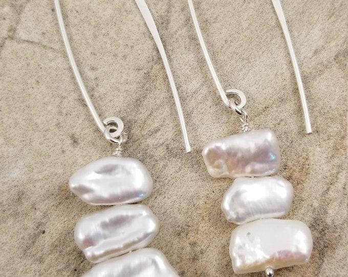 Featured listing image: Lustrous / Genuine Biwa Freswater Pearl Earrings / Long Bar Sterling Silver 925 Earrings / Unique White Pearl Earrings / Victoriamarial