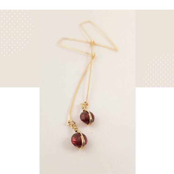 Elegant Rondelle Garnet Bar Dangle Earrings / Gold Filled Gorgeous Garnet Long Earrings