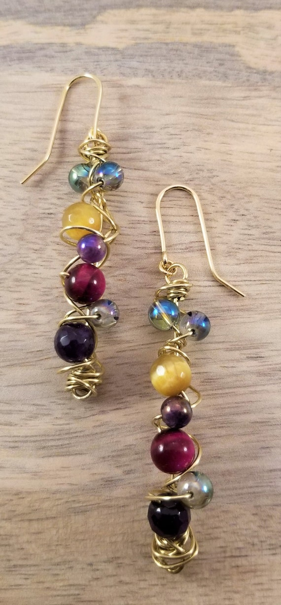 Twister Dangle Multi-Gemstones Earrings/ Wire wrapped Earrings / Victoria Marial Earrings/ Cluster Genuine Gemstone Earrings